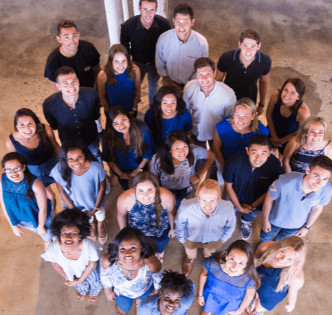 Intern group photo from above